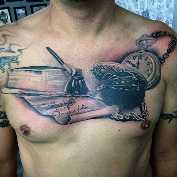 Writing Themed Pen And Ink Nice Mens Chest Tattoo With Realistic Design