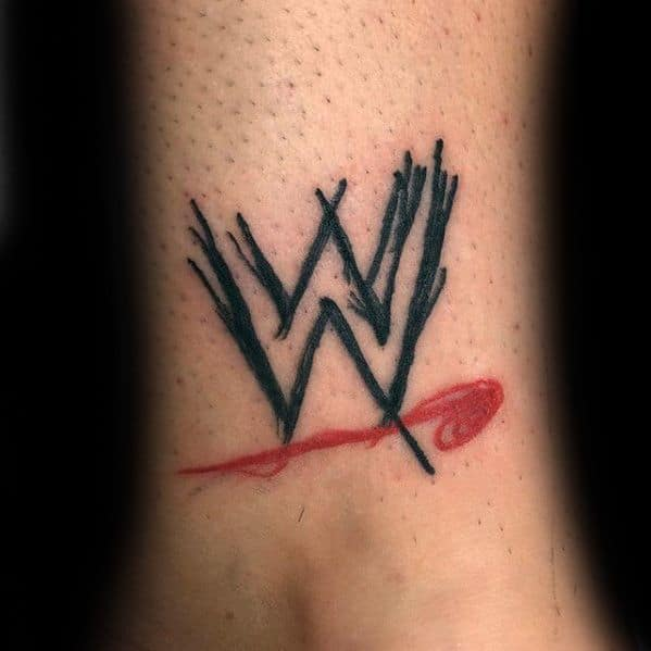 Wwe Lower Leg Mens Tattoo With Wrestling Design