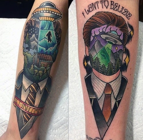 X Files Inner Forearm Guys Tattoos With I Want To Believe Design