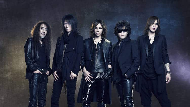 "Popular band X Japan in typical all-black Kurofuku Kei ""suits"" of jackets and pants"