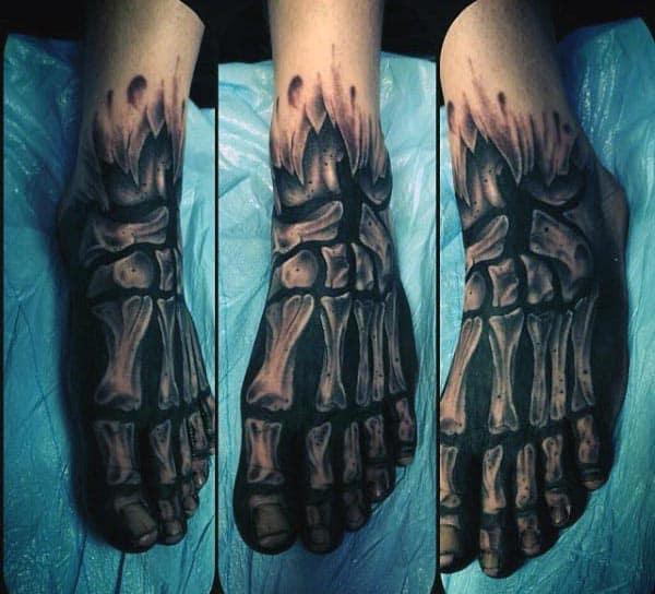 X Ray Mens Bone Foot Tattoo Design