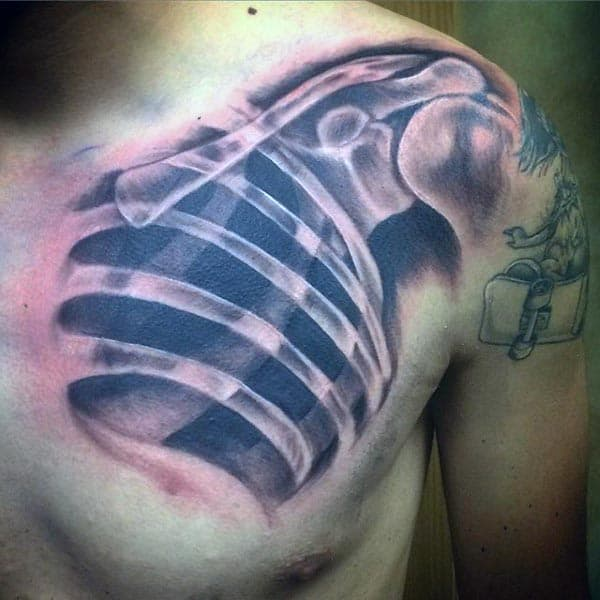 X Ray Of Bones In Mens Chest Tattoo