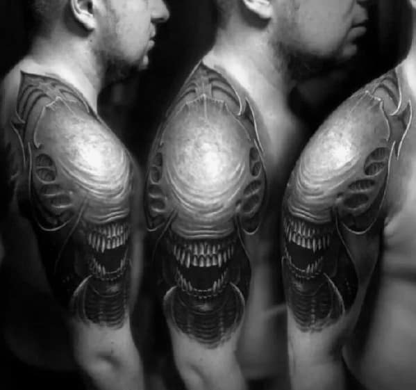 Xenomorph Male Tattoo Designs Shoulder And Arm