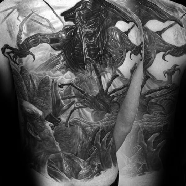 Xenomorph Tattoo Ideas For Males Full Back 3d Design