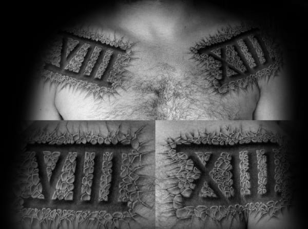 Xiii Roman Numeral Mens Upper Chest Tattoos