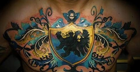 Yellow And Blue Family Crest Mens Chest Tattoo