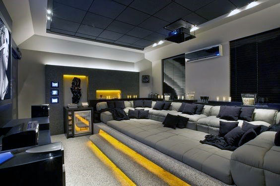Yellow And Grey Home Theater Designs