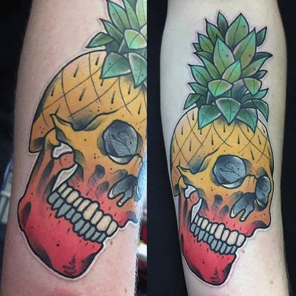 Yellow And Red Skull Pineapple Tattoo Designs For Males On Arm