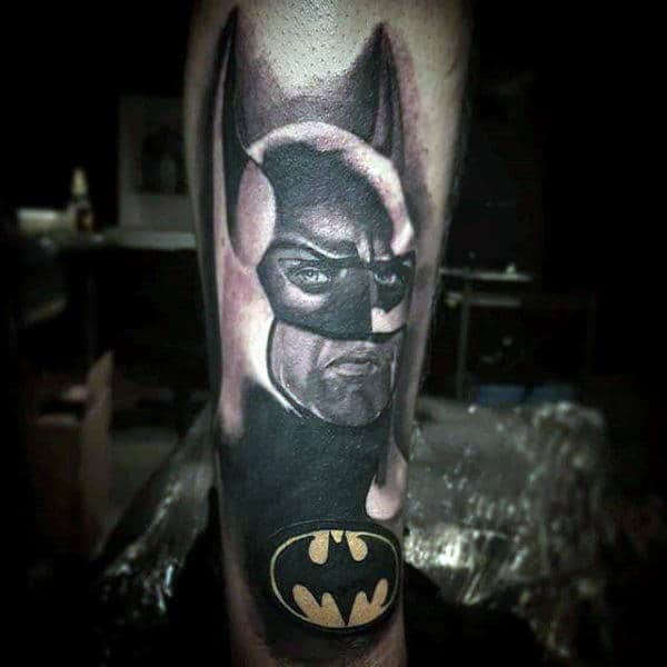 Yellow Batman Symbol Tattoo Design On Mans Forearm