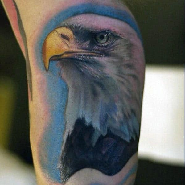 Yellow Beaked Bald Eagle Tattoo Mens Forearms