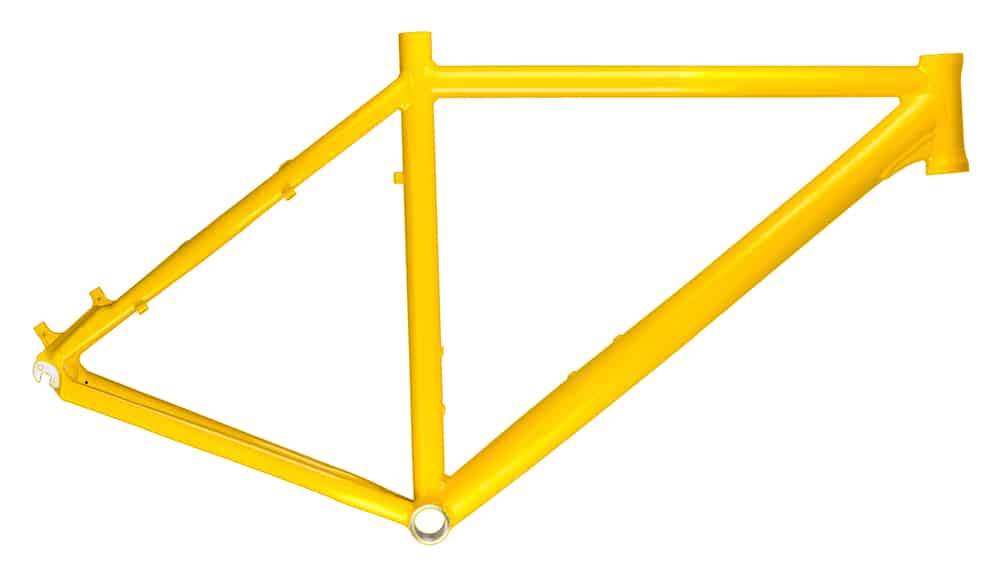 yellow bicycle frame on white background