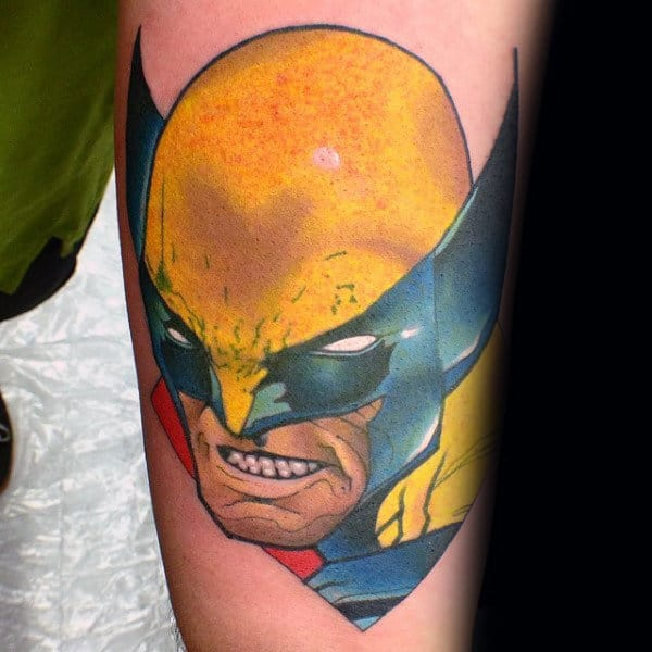 Yellow Blue And Red Guys Small Wolverine Forearm Tattoos