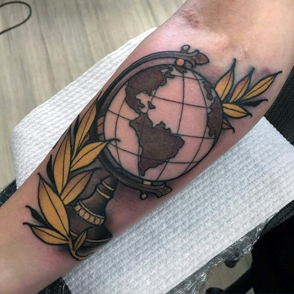 Yellow Branch With Globe Mens Neo Traditional Forearm Tattoos
