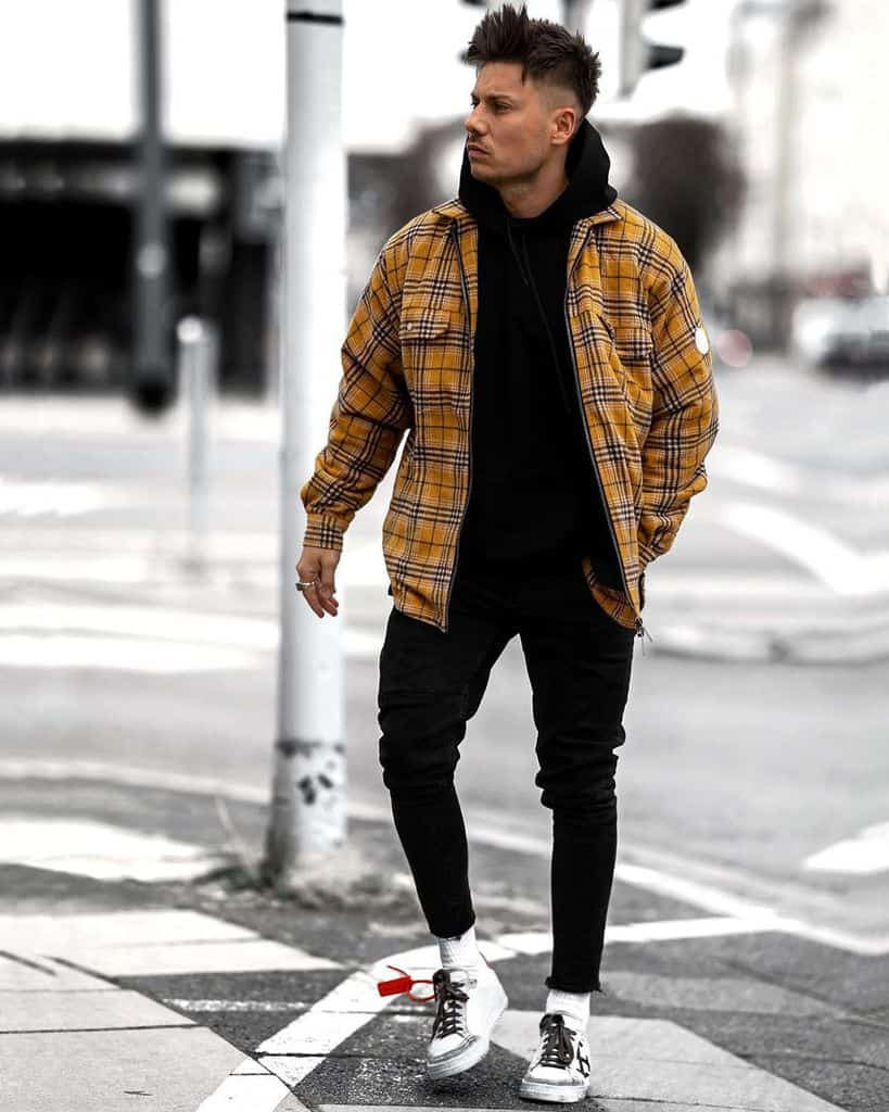 Yellow Chekered Jacket Street Wear Style