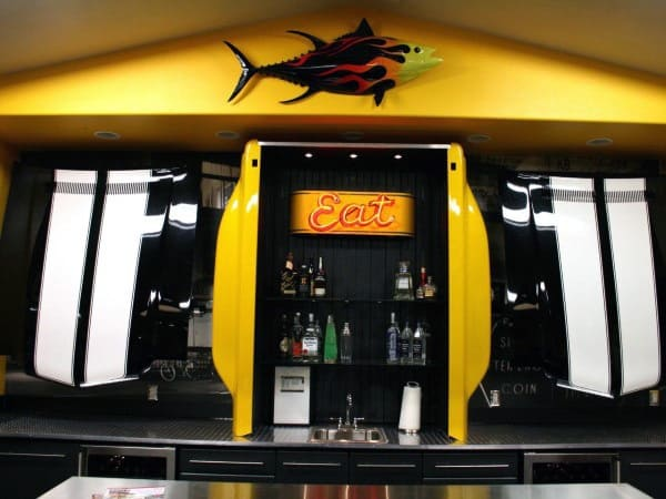 Yellow Cool Garage Bar Ideas