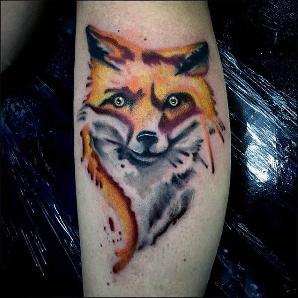 Yellow Eyed Fox Tattoo Mens Forearms