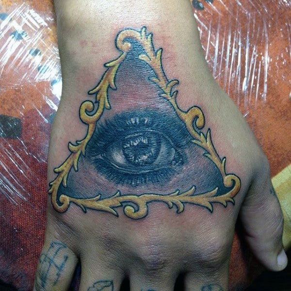 Yellow Framed Black Eyed Tattoo Mens Hands