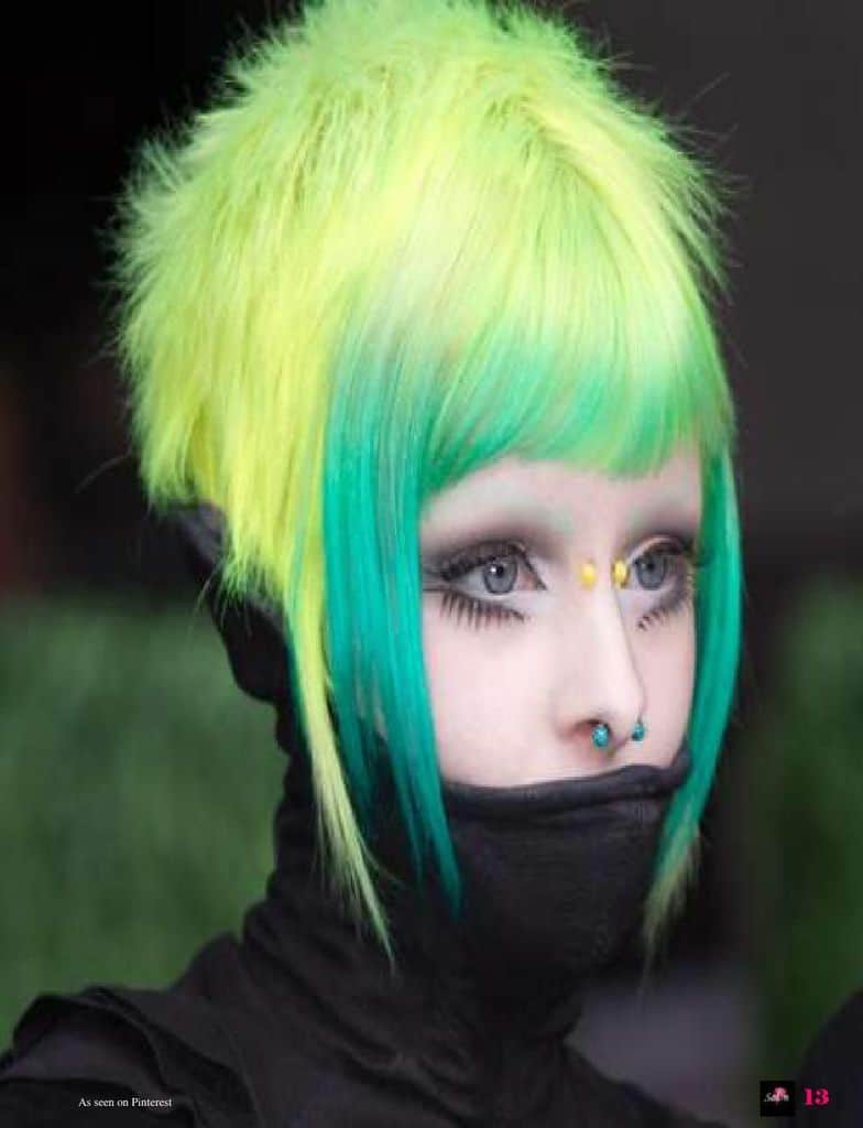 Cyberpunk cut with top hair shaded in yellow and front bangs shaded green
