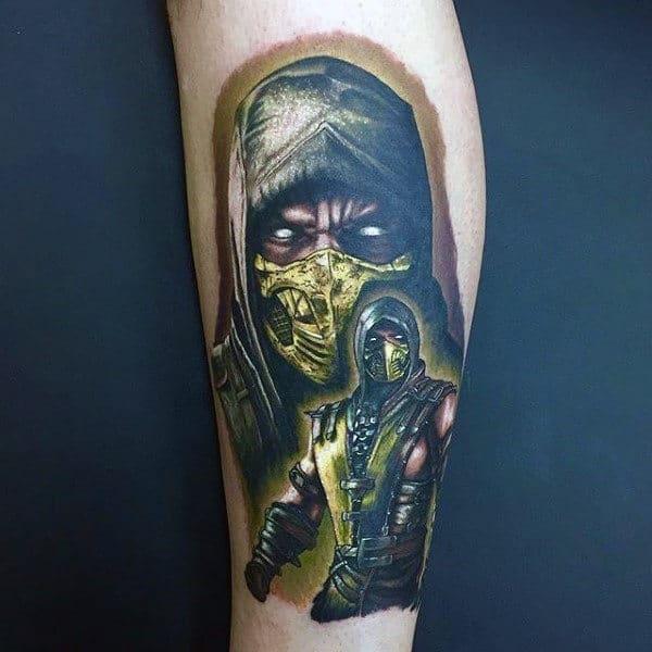 Yellow Ink Mortal Kombat Scorpion Tattoo On Male