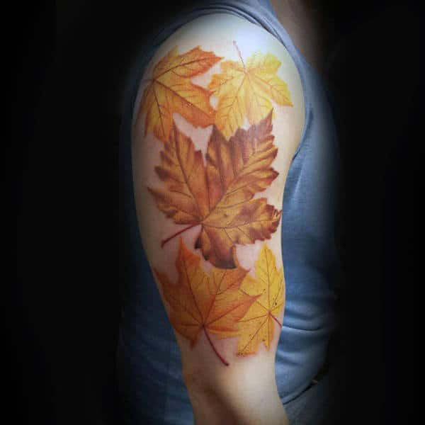Yellow Leaves Male Tattoo With Fall Theme