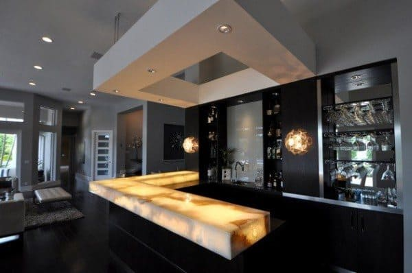 Yellow Led Lighted Bar Top Ideas