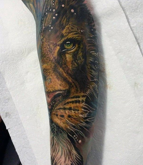 yellow-lion-head-guys-forearm-sleeve-tattoo
