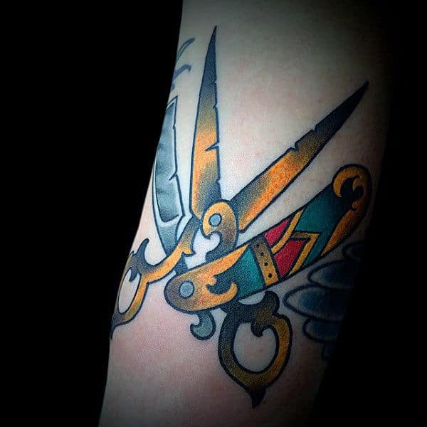 Yellow Mettalic Scissor And Straight Razor Tattoo Male Forearm