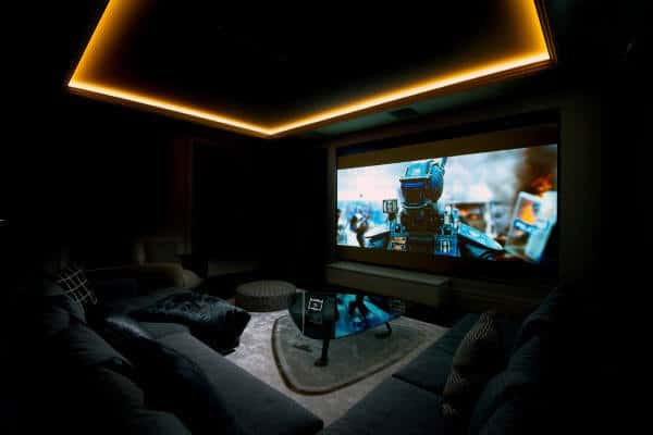 Yellow Neon Lighting Ceiling With Dark Media Room Furniture