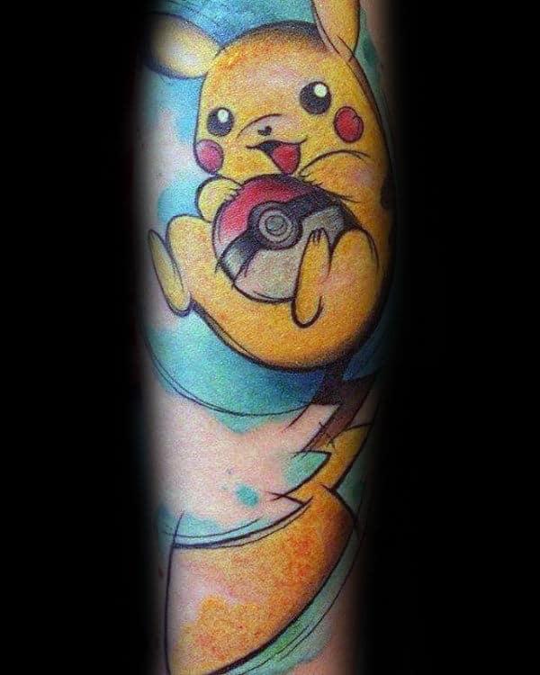 Yellow Pikachu With Poke Ball Mens Pokemon Sleeve Tattoo