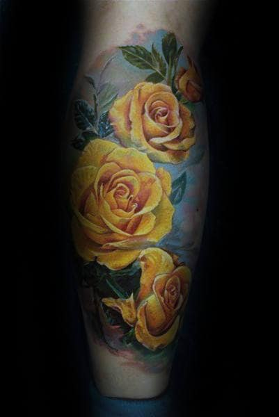 Yellow Realistic Rose Flwoer Mens Back Of Leg Sleeve Tattoos