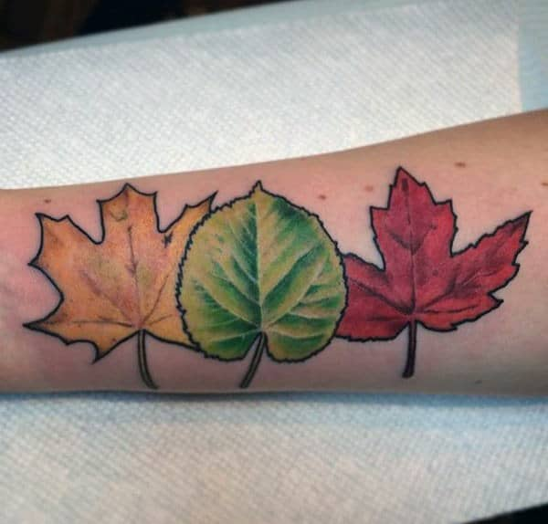 Yellow Red And Green Mens Fall Leaves Forearm Tattoo
