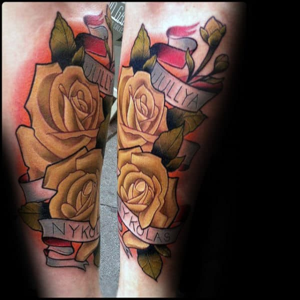 Rose With Banner Tattoos: Waving Word Ink Design Ideas