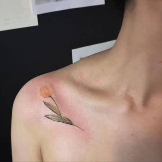 Yellow Tulip Tattoo