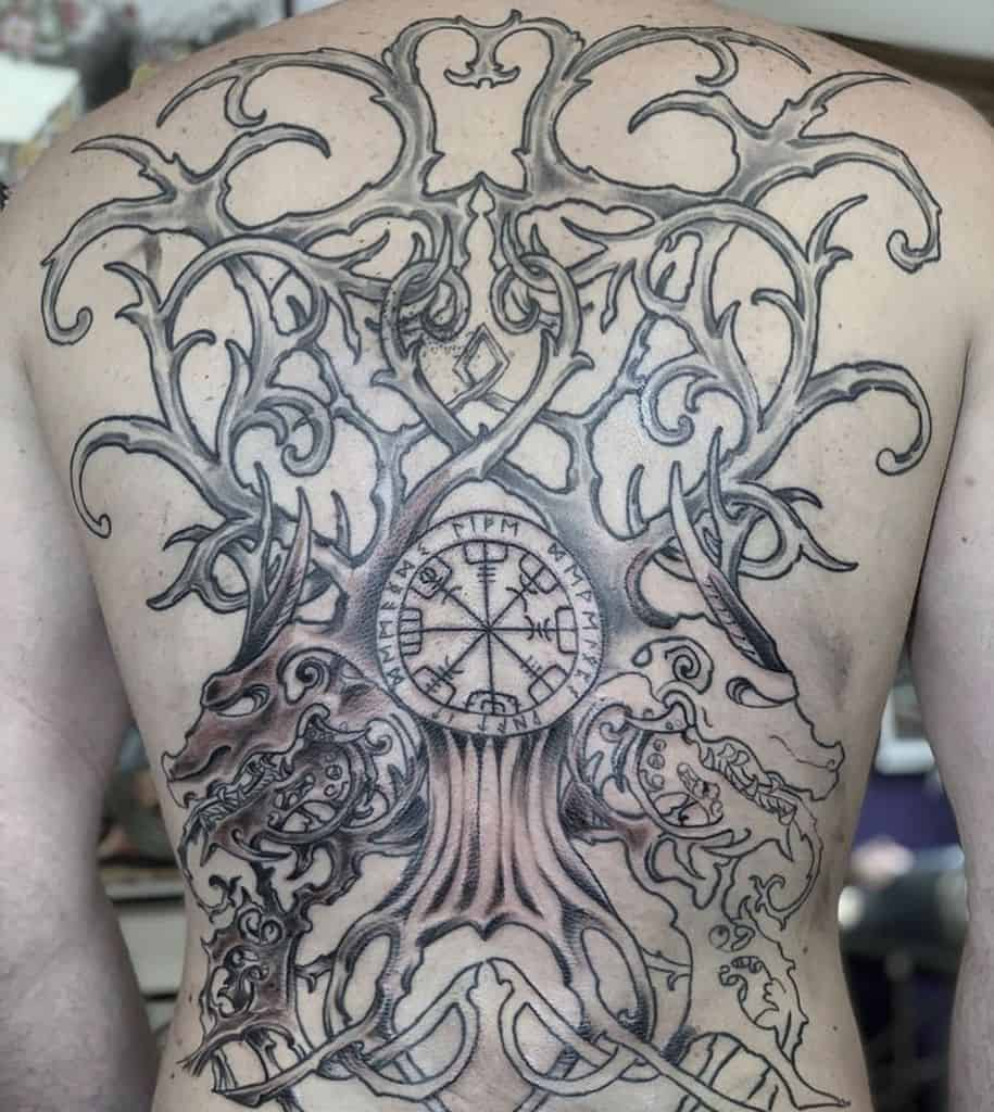 yggdrasil realistic neo traditional tattoo