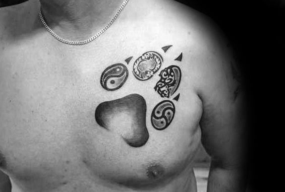 Yin Yang Guys Wolf Paw Chest Tattoo