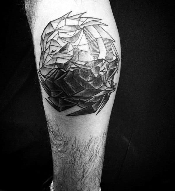 Yin Yang Male Geometric Wolf Leg Calf Tattoos