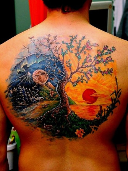 Yin Yang Sun Tattoo For Guys On Back