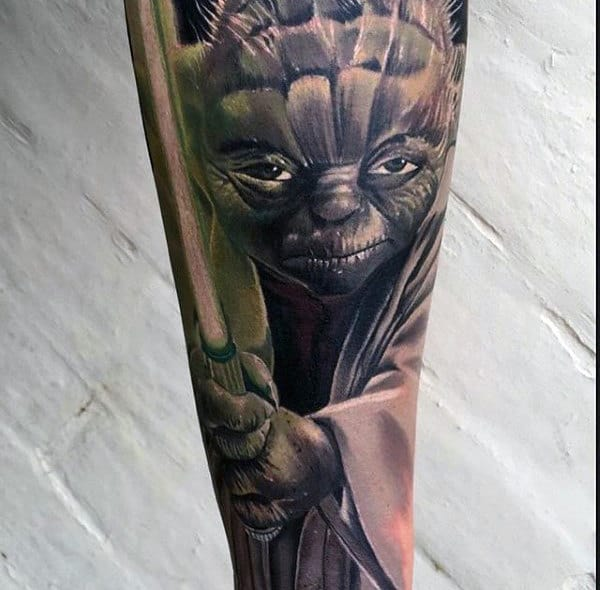 Yoda Green Glowing Lightsaber Forearm Sleeve Tattoos