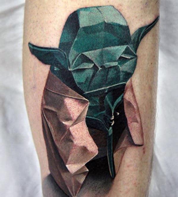 Yoda Mens Origami 3d Forearm Tattoo