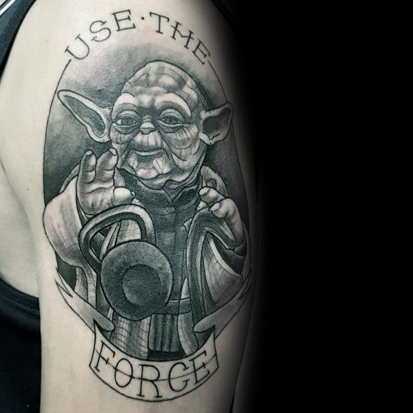 Yoda Star Wars Themed Arm Creative Crossfit Tattoos For Guys