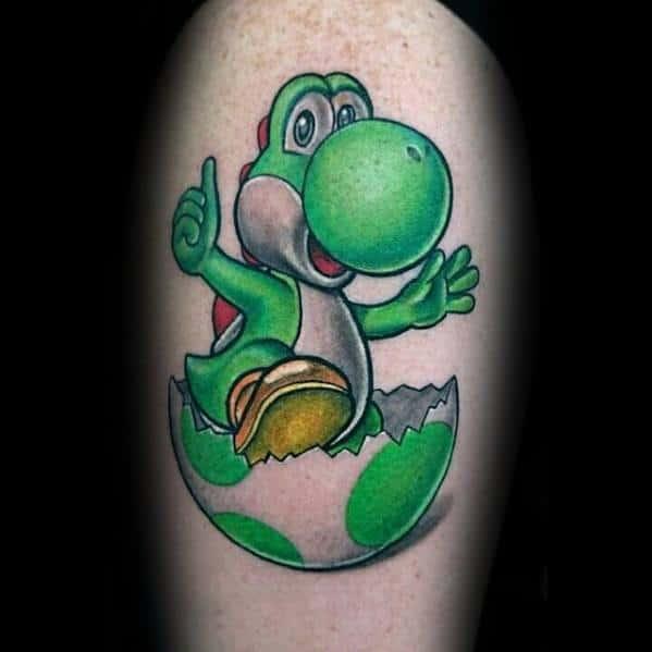Yoshi Egg Shell Mens Tattoo Ideas On Thigh
