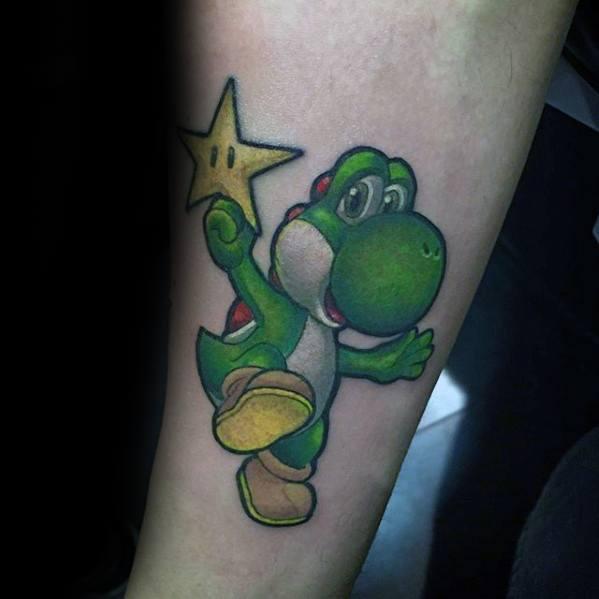 Yoshi Holding Star Inner Forearm Tattoo Designs For Guys