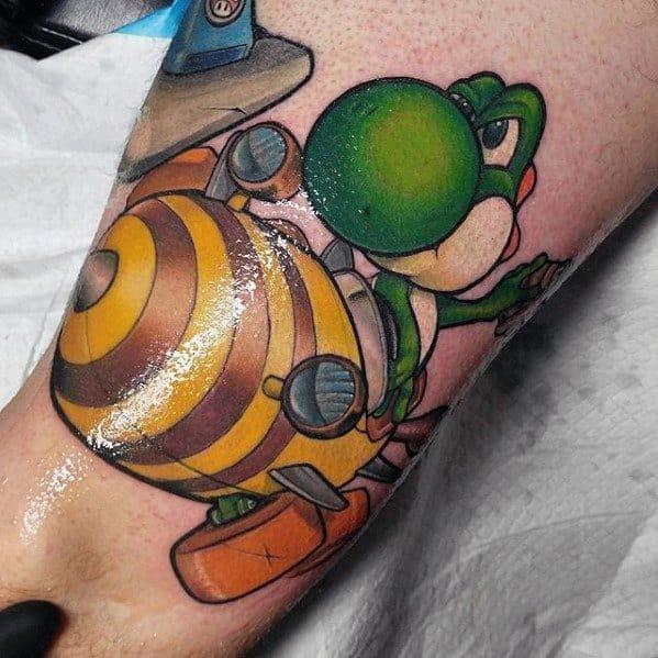 Yoshi Racing Leg Tattoo Ideas On Guys