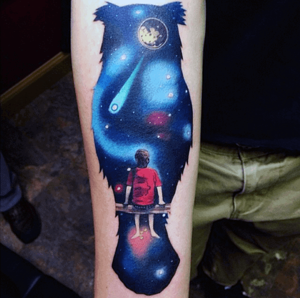 Young Boy Watching Comets Tattoo For Men On Forearms
