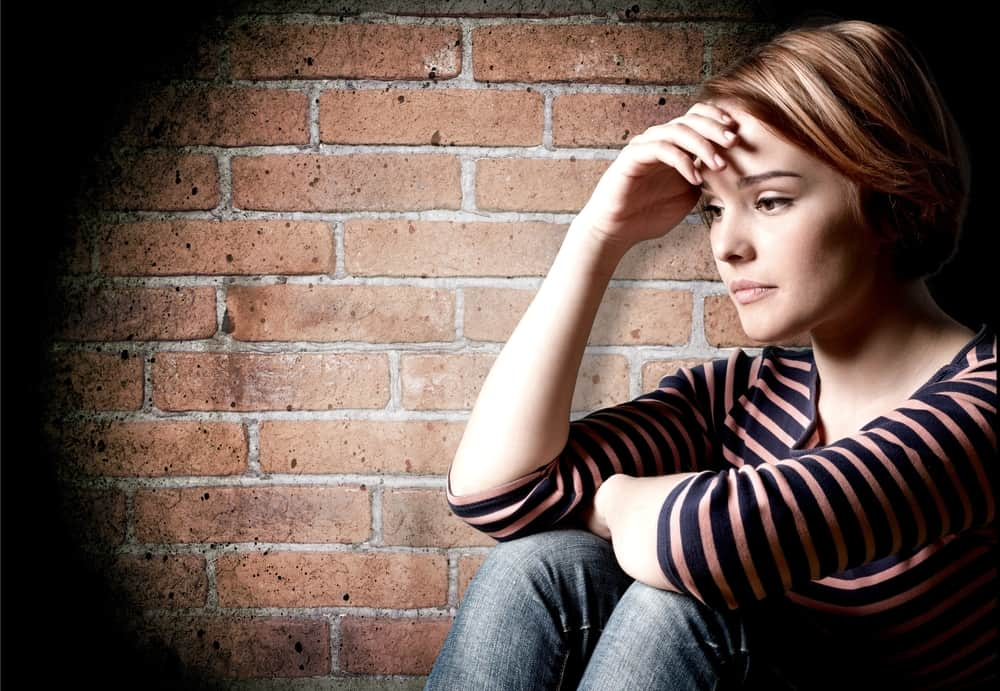 young girl with depression