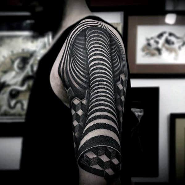 Zebra Lined Tube Pattern Tattoo Male Arms