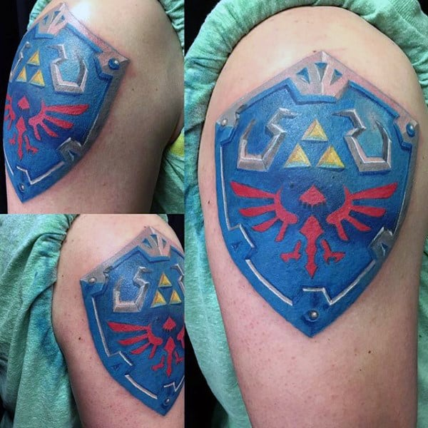 Zelda Sheild Mens Upper Arm Tattoos
