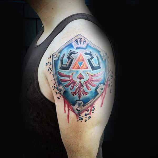 Zelda Shield Tattoos For Men On Upper Arm