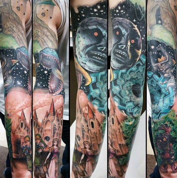 Zelda Themed Full Sleeve Tattoos For Men