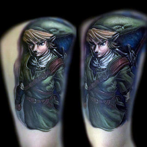 Zelda Thigh Tattoos For Men With Realistic Designs